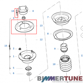 BMW E46 and Z4 front strut tower reinforcement plate set 320d 330d and other
